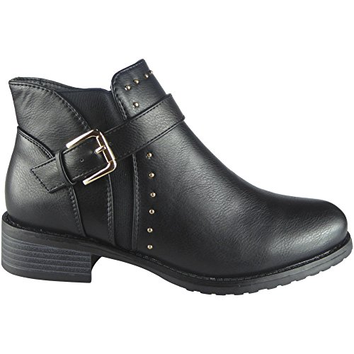Womens Studs Buckle Strap Chelsea Ankle Boots Size 3-8 Black 2ucxuTf6Rp