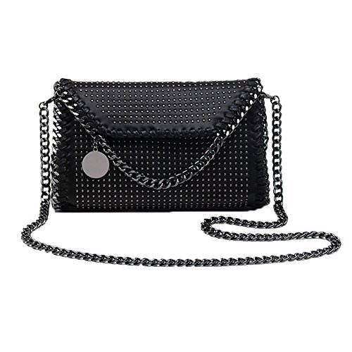Bag Bags Bag Clutches Cross Metallic body Strap Handbag Elegant Black2 Pu Leather Valleycomfy Women Shoulder Chain nxqIx67