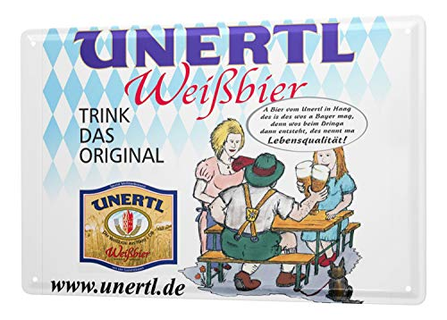 LEotiE SINCE 2004 Tin Sign Weissbierbrauerei Unertl drinking a beer garden and the original Bavarian flag advertising from Hague 20x30 - Bavarian Garden Beer