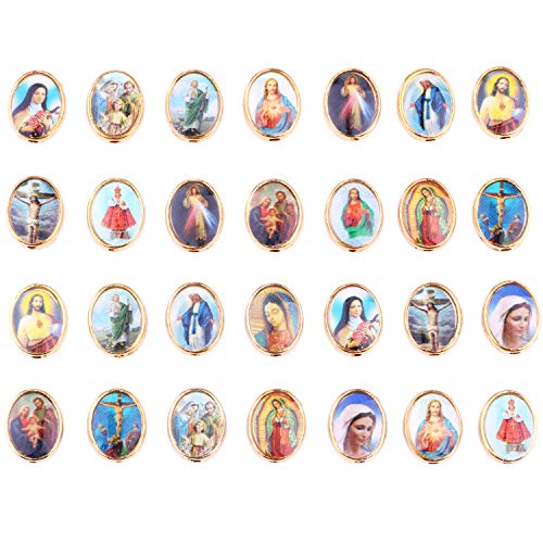80 Mix Picture Gold Cross Jesus Virgin Mary Catholic Enamel Our Lady Miraculous Medal Floral Rosary Centerpiece Alloy Crucifix Oval Beads