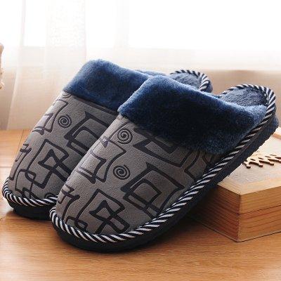 LaxBa Hommes Femmes tricoté coton Anti-Slip Chambre Chaussons boîte grise,270 # (38-39 mètres)