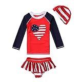 vivobiniya Kid Girl Lovely Long Sleeve Two-Piece Swimsuits Tankini Set Upf50+ (3(H35.4IN))