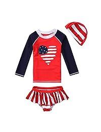 Vivobiniya Kid Girl Lovely Long sleeve Two-piece swimsuits Tankini Set Upf50+