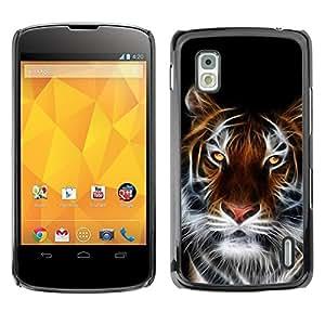 Caucho caso de Shell duro de la cubierta de accesorios de protección BY RAYDREAMMM - LG Google Nexus 4 E960 - Tiger Faceart Yellow Eyes Big Cat White Whiskers