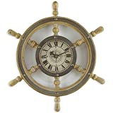 18-Inch Wooden Pirate's Ship Rustic Wheel Nautical Inspired Wall Clock