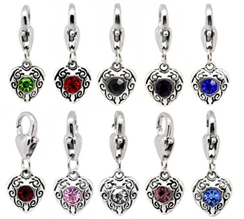50 Silver Heart Charms with Colorful Rhinestones Clip-On Lobster Clasp Bulk Lot of 50 Charms (Heart Clasp Lobster Charm)