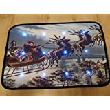 Traditional Father Christmas Sleigh Musical Christmas Door Mat With LED Lights 60 x 40cm Indoor Decoration by UK-Gardens
