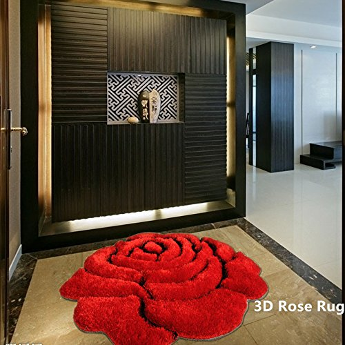 Ustide Rose Rug Super Soft Red Mat Solid Color Area Rug Flower Shaped Shaggy Rug 3D Affect Floor Rugs Decorative Carpet for Kids Room Bathroom 3x3