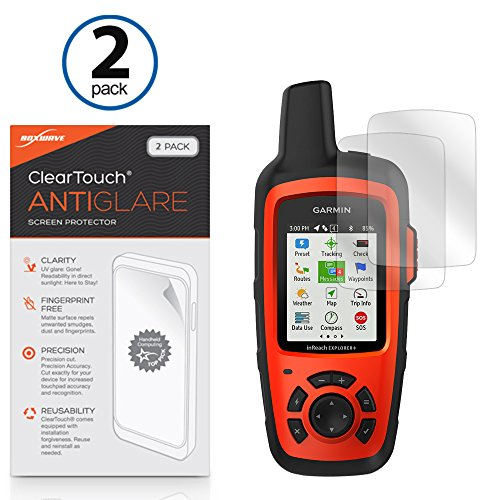 BoxWave Garmin inReach Explorer+ Screen Protector, [ClearTouch Anti-Glare (2-Pack)] Anti-Fingerprint Matte Film Skin for Garmin inReach Explorer+, SE+ ()