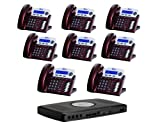 X16 6-Line Small Office Phone System with 8 Red Mahogany X16 Telephones - Auto Attendant, Voicemail, Caller ID, Paging & Intercom