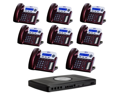 X16 6-Line Small Office Phone System with 8 Red Mahogany X16 Telephones - Auto Attendant, Voicemail, Caller ID, Paging & Intercom - Paging System For Office