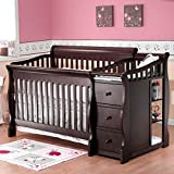 Crib and Changer Combo Sorelle Sorelle Tuscany 4-in-1 Convertible Crib and Changer Combo, Espresso, Solid Birch Wood by Sorelle