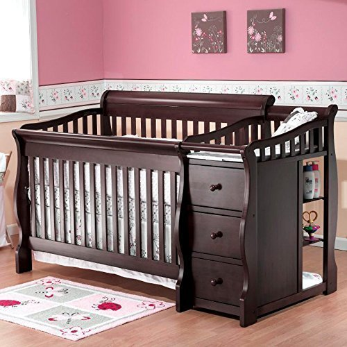 Sorelle Sorelle Tuscany 4-in-1 Convertible Crib and Changer Combo, Espresso, Solid Birch Wood by Sorelle -
