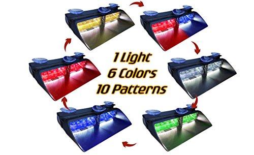 Warningworx Red Blue Green White Yellow LED High Intensity LED Law Enforcement Emergency Hazard Warning Strobe Lights Suction Cups Dash Window Interior -