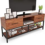 "TV Stand, Tribesigns 59"" Entertainment Center with Two Drawers and Sturdy Metal Base, 3-Tier TV Console Entertainment Stand for Living Room, Light Walnut Finish"