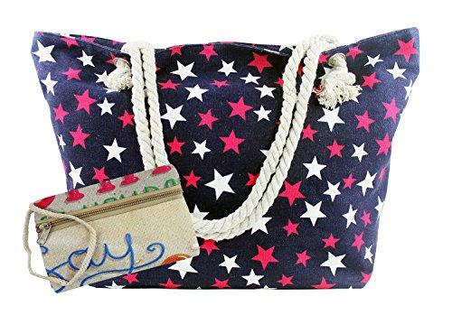 Angelina - Borsa da spiaggia / mare / shopper / da viaggio / per la piscina, grande, con zip, da indossare sulla spalla, per donna, con diversi motivi e colori e motivi Blu+Rosa Stelle Blu