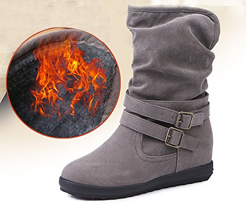 7' Spike Heel Sandals - Faionny Womens Suede Buckle Shoes Antiskid Flat Ankle Boots Low Wedge Shoes Warm Snowshoes Martens Shoes Sneakers