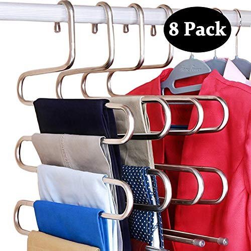 DOIOWN S-Type Stainless Steel Clothes Pants Hangers Closet Storage Organizer for Pants Jeans Scarf Hanging (14.17 x 14.96ins, Set of 3) (8-Pieces) (8 Pack- Silver)