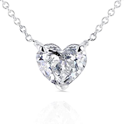 f521bfd7613b Amazon.com  Floating Heart Diamond Necklace 1 CTW in 14K White Gold  (Certified)  Jewelry