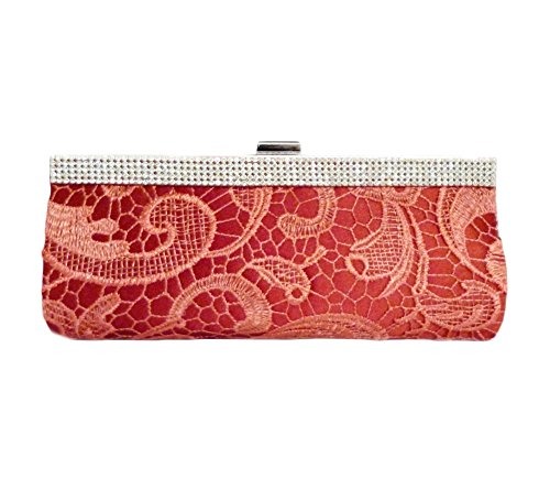 Red Lace Strap inch with 10 Party Clutch Evening Edelweiss Wine pzOCqO