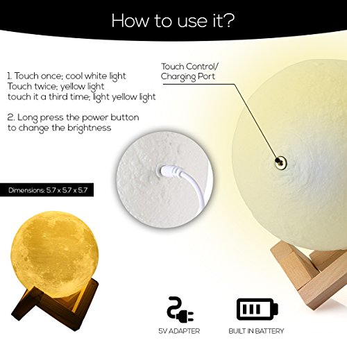 Moon Night Light: Lamp, Decorative, Touch Control LED Moon Light with Wooden Stand and USB Charger Included - Great Gift Idea for Kids or for Bedroom Use