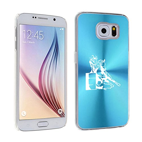 For Samsung Galaxy S7 Aluminum Plated Hard Back Case Cover Female Barrel Racing Cowgirl (Light Blue) ()