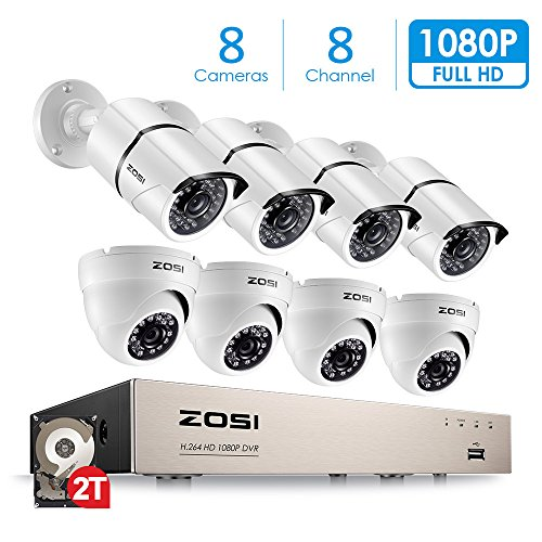 ZOSI FULL 1080p HD 8-Channel Video Security System DVR with 8pcs Indoor/Outdoor 2.0MP 1080p Bullet/Dome Cameras with Weatherproof Housing 100ft(30m) IR night vision 2TB Hard (Weatherproof Housing)