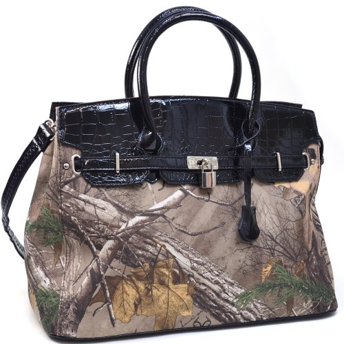 Realtree Belted Camouflage Tote Bag w/ Croco Trim & Tassel Accent -Pink/Coffee