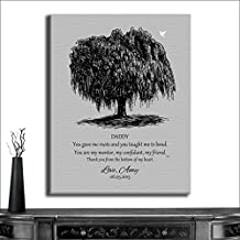 16X20 Custom Mounted Canvas Art Print Personalized Gift For Dad Black Willow Tree on Gray Background Father of Bride Parents Fathers Day Gift From Bride And Groom Custom Wedding Art