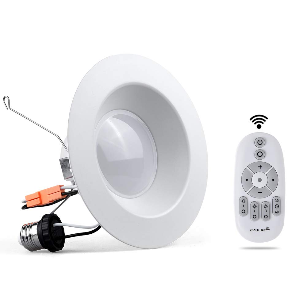 6'' inch Retrofit LED Recessed Lighting Fixture Phwii Dimmable Smart LED Downlight 2.4G Wireless Remote Control Ceiling Light Baffle Trim Kit Adjustable 15W (120W Equivalent) 1 Pack
