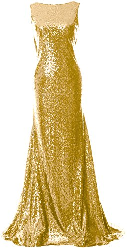MACloth Elegant Cowl Back Long Bridesmaid Dress Sequin Simple Prom Gown Light Gold Li2dT6