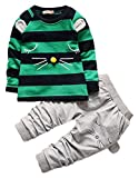 3 4 pants - 2016 Baby Boys Kids 2 Pieces Fall Clothing Set T-Shirt Pants Outfits(Stripes Green,3-4 years)