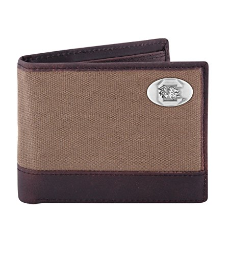 Gamecock Leather (NCAA South Carolina Fighting Gamecocks Canvas Leather Concho Passcase Wallet, Olive)