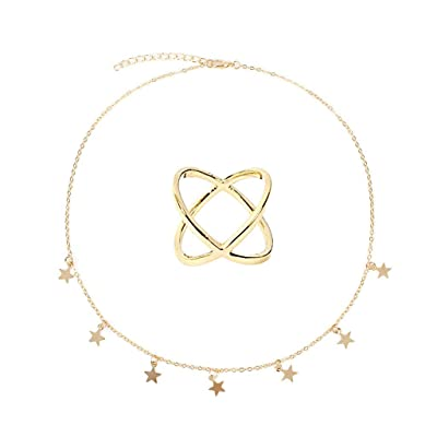PIKAJIU Star Necklaces and Ring for Women Girls Star Choker Necklace Adjustable (Gold): Toys & Games
