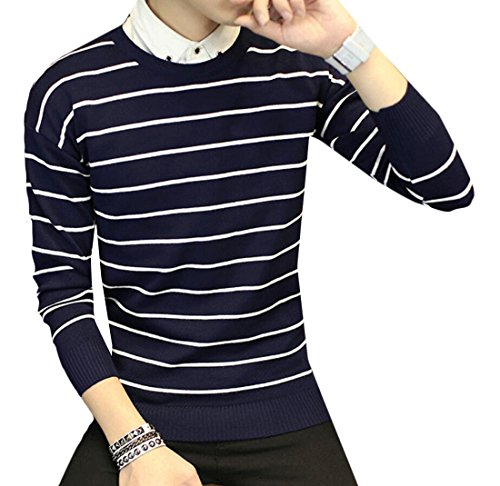 GAGA Men's Casual Slim Striped Long-sleeved Pullover Sweater Navy Blue XL