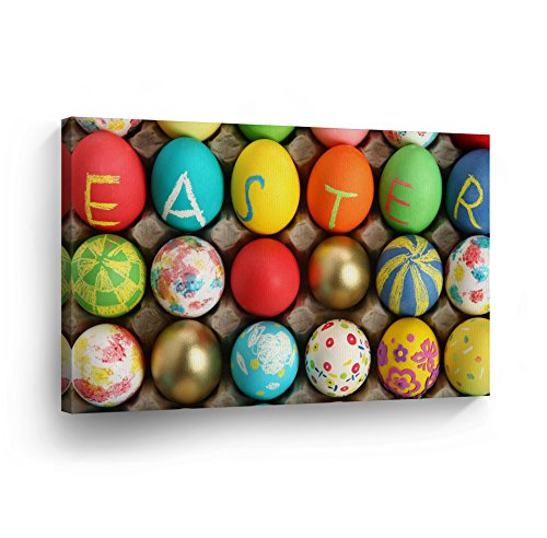 Colorful Easter Decoration Wall Art Canvas Print Easter Eggs Colored Home Decor Decorative Artwork Gallery Wrapped Wood Stretched and Framed Ready to Hang - %100 Handmade in the USA - 8x12