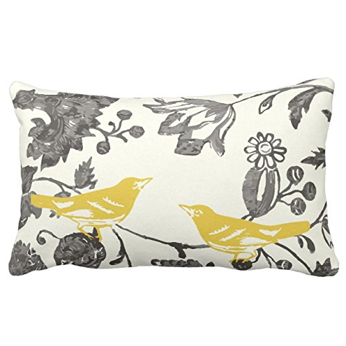 UOOPOO Trendy Yellow Gray Ivory Vintage Floral Bird Lumbar Throw Pillow Case Square 12 x 20 Inches Soft Cotton Canvas Home Decorative Wedding Cushion Cover for Sofa and Bed One Side (Gray And Yellow Pillow)