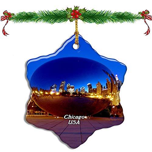 Fcheng USA America Cloud Gate、Millennium Park Chicago Christmas Ceramic Ornament Tree Decor City Travel Souvenir Double Sided Snowflake Sublimation Porcelain Hanging Ornament (Park Millennium Chicago Christmas)