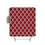 Custom Moroccan Quatrefoil Pattern Bathroom Waterproof Polyester Fabric Shower Curtain(stall Long size 54'x78', Red)