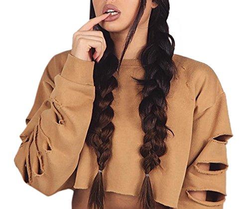 Cass Crop Longues Col Shirts Blouse Tops Mode Sweat Hauts Rond Manches Kaki Pulls Trou Femmes Pullover Jumpers 8vOUqpnp