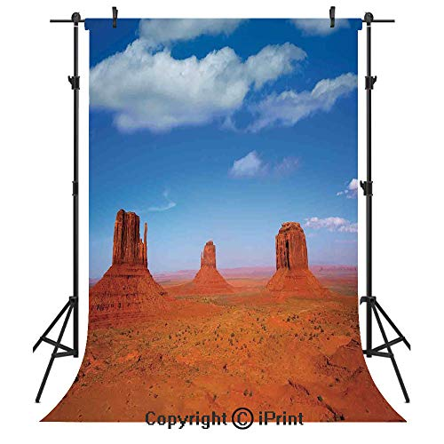 (Western Photography Backdrops,Monument Valley in Wild West Historical American Lands and Sky Photo Deco,Birthday Party Seamless Photo Studio Booth Background Banner 5x7ft,Burnt Orange Blue)