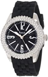 Freelook Women's HA5339-1 Black Silicone Band Black Face Swarovski Bezel Watch