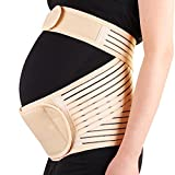 Maternity Pregnancy Support Belt , Breathable Strong Back and Pelvic Support Belly Band For Back Pain And Hip Pain ,Comfortable Abdominal Binder For Pregnancy ,Beige Color (Medium)