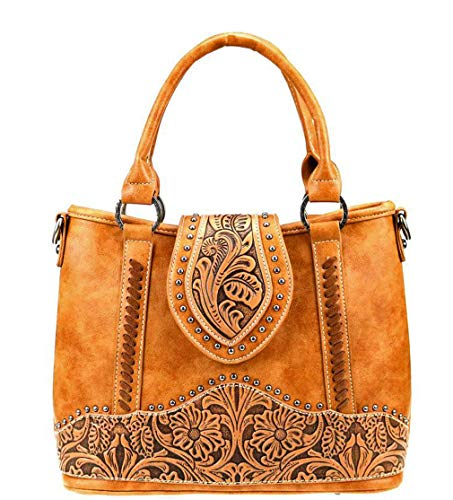 (Trinity Ranch Concealed Carry Crossbody Tote w/Floral Tooled Leather (Light Brown))