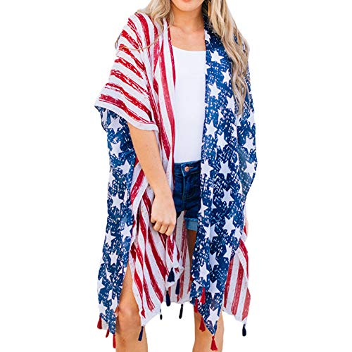 Women's American Flag Print Kimono Cover Up Tops, 4th of July Shirts for Women]()
