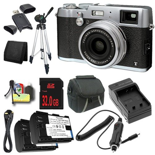Fujifilm X100T 16.3MP CMOS Digital Camera (Silver) + Replacement Lithium Ion Battery + External Rapid Charger + 32GB SDHC Class 10 Memory Card + Carrying Case + Full Size Tripod + Mini HDMI Cable + SDHC Card USB Reader + Memory Card Wallet + Deluxe Starte