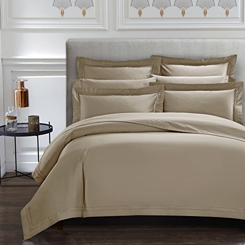 CASA BOLAJ DESIGNED TO DREAM Triomphe Collection 3 Pieces Champagne Khaki Color King Size Duvet Cover Set 100% Egyptian Cotton Sateen 400 Thread Count Luxury Handcraft(Khaki,King)