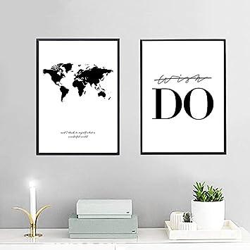Nordic Ideas Set de 2 Posters Carte du Monde et Citation Murale ...