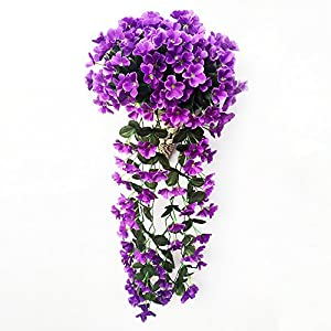 MIGUOR Artificial Decoration Silk Cloth Violet Flowers Basket Fake Hanging Wall Decor Artificial Vines Plastic Flower Basket Home Hotel Wedding Garden Decor Outdoor Building Decor 2