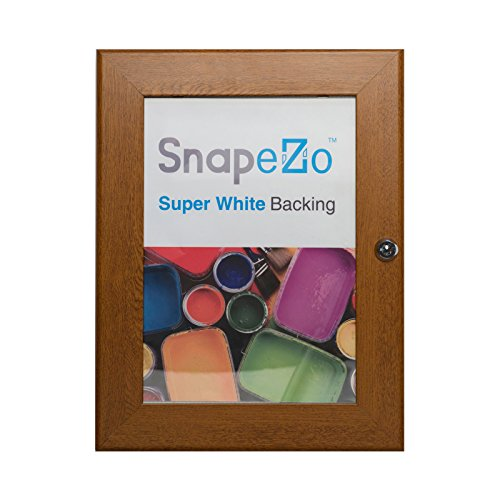 SnapeZo Notice Poster Case 11x17 Inches, Dark Wood Effect 1.8'' Aluminum Profile, Locking Poster or Menu Case, Lockable Case, Wall Mounting, Professional Series by SnapeZo